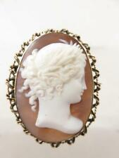 amazing details VICTORIAN 12KT GOLD SHELL CAMEO ATHENA GODDESS PROFILE