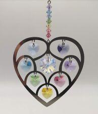 Confetti Wedding Heart of Hearts Hanging Crystal Suncatcher Swarovski Beads NEW