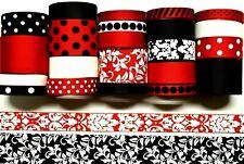Grosgrain Ribbon 24 Yds Mixed Lot Swirls Black & Red Damask Printed. Ref07