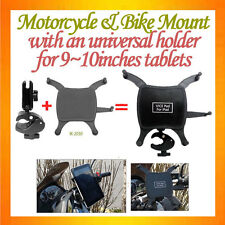 "C-Clamp Mount fixed on pipe+Universal Holder about 9~10"" Tablet Motorcycle Mount"