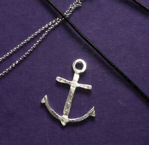 MENS STERLING SILVER CARVED ANCHOR CORD NECKLACE hand made by LONDON SILVERSMITH