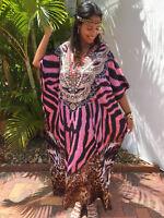 NEW Embellished Kaftans Silk Blend O/Size12-14-16-18-20-22 Animal Print Pink