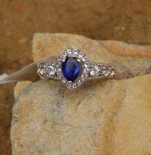 Masoala Sapphire, White Topaz RING Platinum/Silver size 6 TGW 1.33 cts