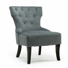 Rheya Velvet Wing Back Occasional Bedroom Lounge Fabric Accent Chair Grey