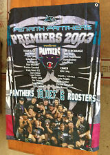 NRL PENRITH PANTHERS  2003 PREMIERSHIP WALL  CAPE FLAG BRAND NEW 100CM X 70 CM