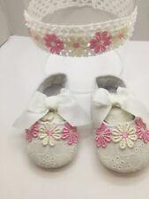 Scarpe neonata con fiorellini/ /Scarpette neonata N18/Fascia per capelli neonata