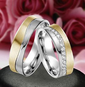 2 Echt Silber 925 Trauringe Eheringe Verlobungsringe , Gravur Gratis , J319-GW