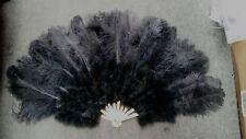 21 x 35 inches Large Burlesque Dance feather fan Bridal Bouquet,ostrich ,black