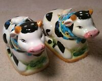 Vintage Holstein Salt And Pepper Shakers Little Bird Sitting On Their Collars