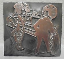 Vintage Letterpress Printing Block Plate Pretty Woman Getting Her Tire Changed