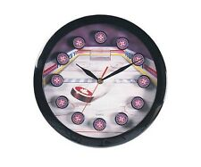 "11"" Sports Theme Hockey Wall Clock With Hockey Puck Markers New"