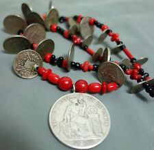 Antique Guatemalan, Peruvian  Coins & Vintage Trade Bead Chachal Ethnic Necklace
