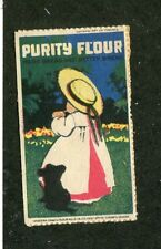 Poster Stamp Label PURITY FLOUR for Bread little girl & dog Western Canada Mills