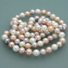 """Long 25"""" 8-9mm Genuine Natural White &Pink& Purple Akoya Cultured Pearl Necklace"""
