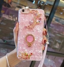 Lindo Anillo De Flores Stand correa de diamantes Bling caso cubierta para iPhone XS Max XR 7 8+