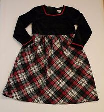 Hanna Andersson Tartan Plaid Black Velvet Christmas Dress Girl 130 7 8 9 10 yrs