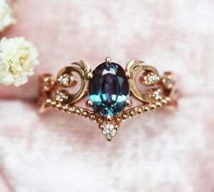 2Ct Oval Cut Unique Alexandrite Women's Crown Engagement Ring 14K Rose Gold Over