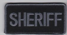 Sheriff patch for vest gear bag, 4 x 2 full hook backing, grey/black subdued