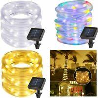 Solar 100 LED Power String Fairy Light Rope Tube Lamp Garden Yard Party Decor