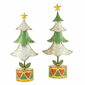 Set 2 Tabletop Painted Metal Christmas Tree Sculpture Round Drum Base Holly
