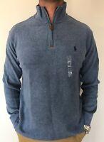 Polo Ralph Lauren Mens Designer Half Zip Cotton Jumper / Sweater Blue Sz S or M
