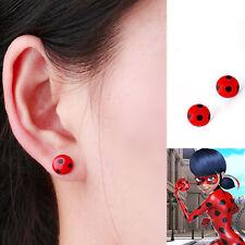 Miraculous Ladybug Cat Noir Cosplay Costume Ear Stud Red Ladybird Earrings
