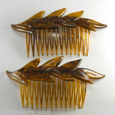 Vintage Hair Comb Pair Made in Usa Leaf Topper Tortoise Color Accessorie