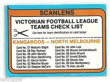 1980 Scanlens NORTH MELBOURNE Check List Exc.