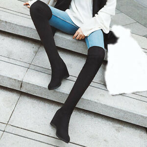 Womens Comfy Hidden Wedge Heels Pull On Over Knee High Boots Stretch Boots Shoes