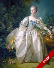 YOUNG 1700'S WOMAN IN LARGE WHITE SATIN DRESS PAINTING ART REAL CANVAS PRINT