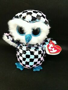 """2019 TY 6"""" Flippables TOPPER Owl Beanie Boos Sequins Plush MWMTs Ty Heart Tags"""