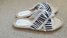 BETTY Barclays BASICS Size 6  Zebra Print Canvas Upper Flip-flop Sandal