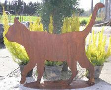 KATZE GEHEND 45x50cm Rost Edelrost Metall Figur Rostfigur Kater laufend Kätzchen