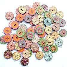 50PCS Wooden Buttons Sewing Clothings Handmade DIY Scrapbooking Decoration New
