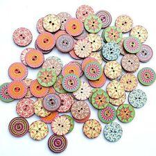 50Pcs Redondos Botones de madera costura Artesanía Buttons