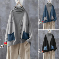 UK Womens Casual Loose Buttons Down Knit Sweater Cardigan Jacket Coats Plus Size