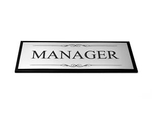 Manager Door Sign, Adhesive Plaque, Silver & Black - Acrylic (Size 19.5 x 7.6cm)