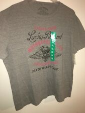 LUCKY BRAND Gray Graphic T Shirt Riding Hard Motorcycle Club, Men's L