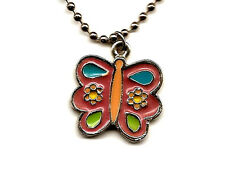 AAi Jewelry Enamel Butterfly Pendant Necklace + Silver Chain Pink Blue Charm 70s