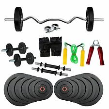 New Fitfly Home Gym Set 30kg Weight,3ft Curl Rods With All Gym Accessories