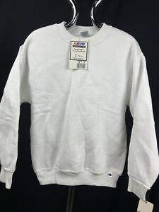 Vintage Made In USA NWT Russell Athletic Youth Small Sweatshirt Crew NWT WHITE