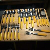 Vintage Studio Nova Yellow Handle Flatware Set (24 pcs) Japan