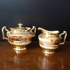 Antique Noritake Morimura Japan CREAM & SUGAR SET Gold Lusterware Lake Scene Tea