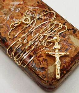 9ct Gold crusafix cross pendant on box link 16 inch chain necklace fancy link