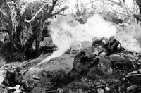 WWII photo US Marines set fire to Japanese defensive position on Iwo Jima war 6i