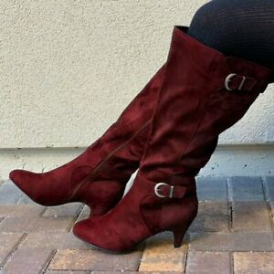 Womens Faux Suede Pointed Mid Calf Boots Retro Buckle Strap Kitten Heels Shoes