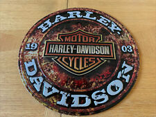 Harley-Davidson Embossed Stone Rust Bar & Shield Tin Sign Round 14 Inch