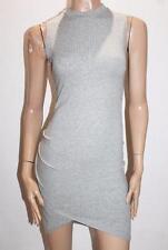 DICLOUD Designer Grey Rib Knit High Neck Bodycon Dress Size S BNWT #TC40