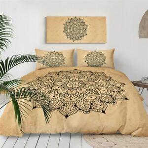 Yellow Black Floral Mandala King Queen Twin Quilt Duvet Pillow Cover Bed Set
