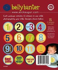 Monthly Belly Stickers for Baby Boy - Month 1-12 + Bonus Stickers - 15 included